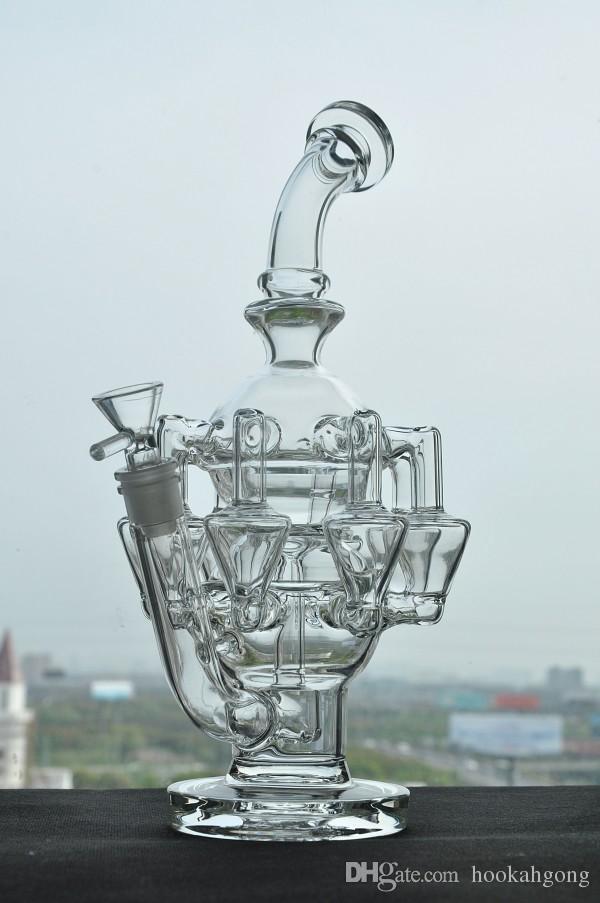 Новый дизайн Fab яйцо водопроводные трубы уровень толстые стеклянные бонги стеклянные бонги ресайклер нефтяные вышки Бонг курительная трубка кальяны бесплатная доставка