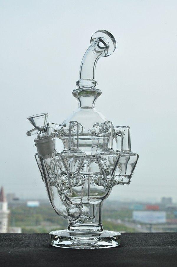 Neuestes Entwurfs-Fabel-Ei-Wasser-Rohr-waagerecht ausgerichtete starke Glasbongs Glasbong-Recycler-Öl-Plattform-Bong-Pfeife-Huka-freies shippng