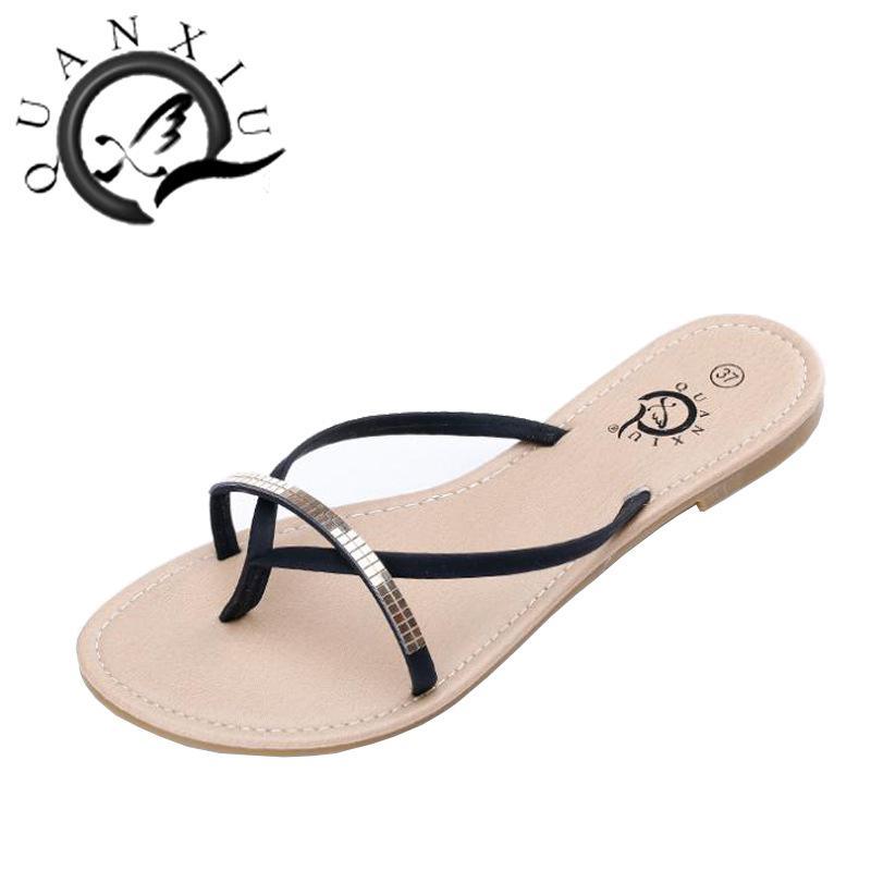 314bb904ce0ff 2016 New Arrival Fashion Women Flip Flop Rhinestone Shoes Summer Female  Bling Flip Flops Sandals Plus Size Black Wedge Sneakers Sandal From  Dudufashion