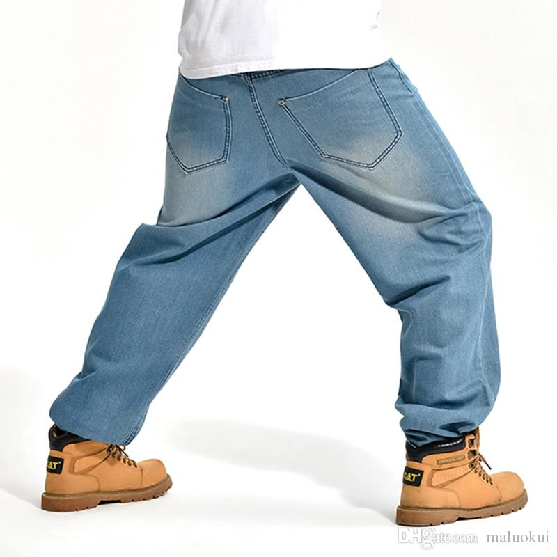 2016 Marka Erkekler Baggy Kot Büyük Boy Erkek Hip Hop Kot Uzun Gevşek Moda Kaykay Rahat Fit Kot Mens Harem Pantolon
