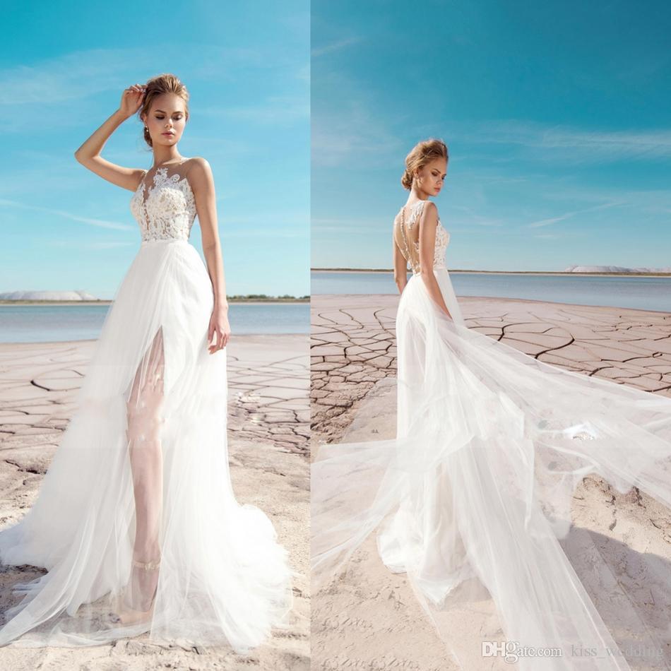 Discount Sexy High Split Wedding Dresses Illusion Back Sheer Scoop ...