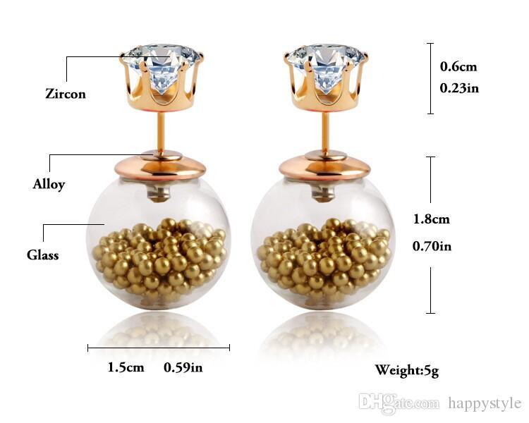 Yeni Kristal Moda Paragraf Sıcak Satış Sevimli Küpe Çift Yan Şeffaf hollow İnci Saplama Küpe Kadınlar Için Büyük Inci Küpe 5