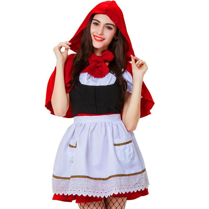 Halloween Costumes Set Dress Autumn Short Sleeve O Neck Cute Red Little Red Hat Apparel Cosplay Party Club Costume
