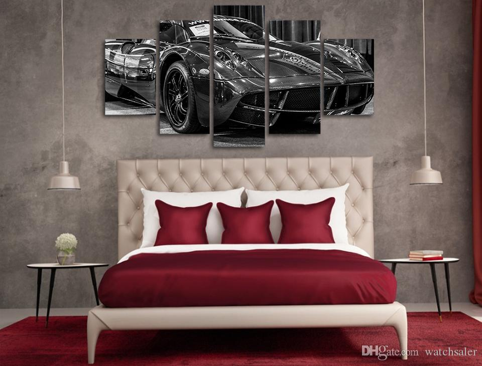 HD Printed Black luxury sports car Painting Canvas Print room decor print poster picture canvas cuadros