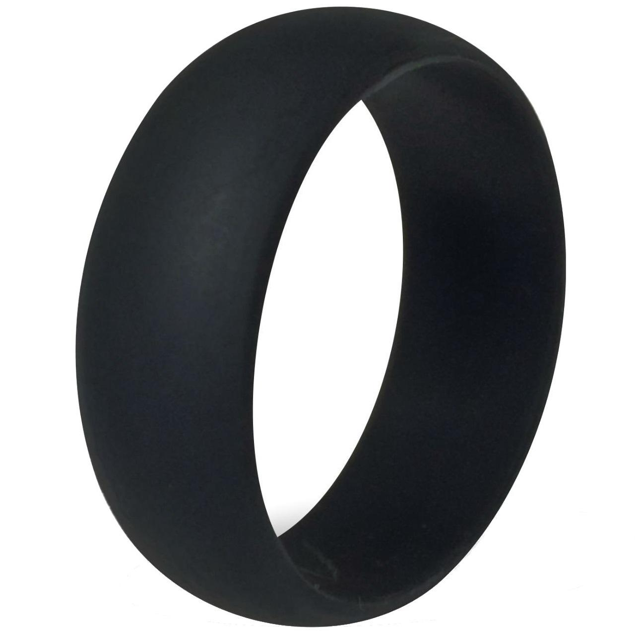 Rubber Band Wedding Rings >> 8MM Size 7 15 Black Silicone Ring Band Hypoallergenic Rubber Wedding Outdoor Party Crossfit ...