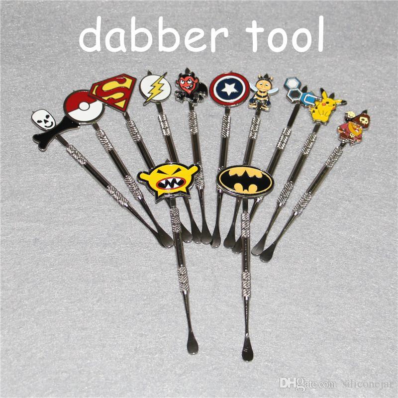 왁스 Dabber 도구와 패션 데님 스티커 Batman, Captain, superhero, Flash and Skull wax Dab tool 120mm Jars Tool