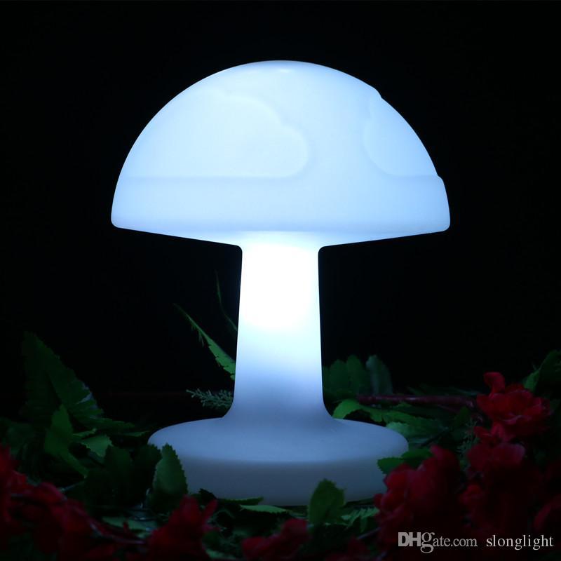 Lampe Plastique Bureau Bébé Changeante 4 Pcs De Rechargeable Couleur Couchage Led Télécommande Table Lot Éclairage Chambre Champignon rsQCthd