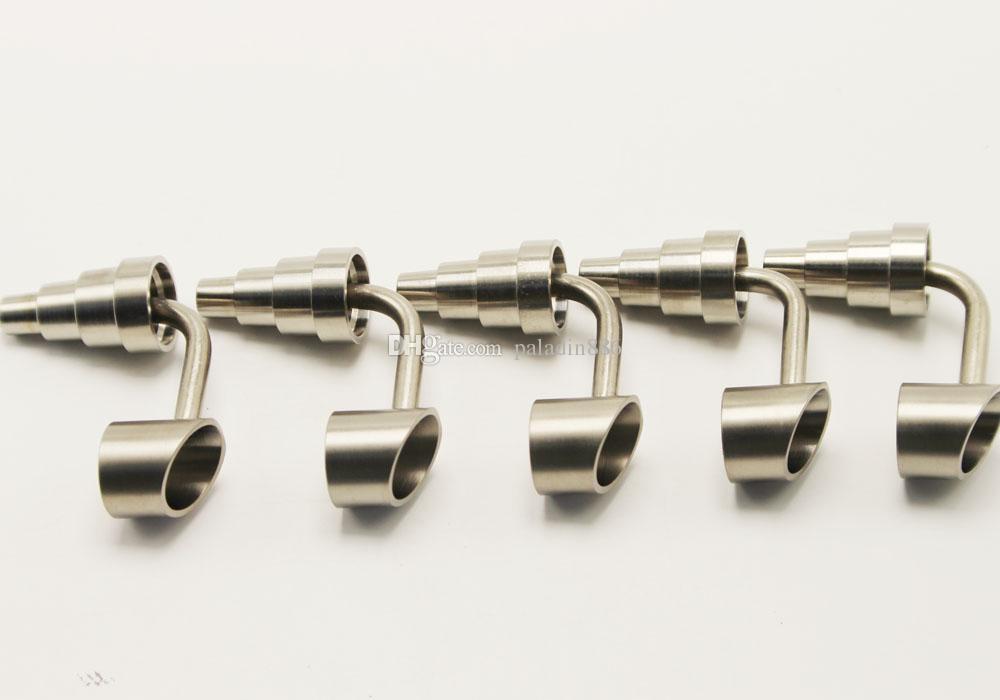 Titanium uñas Universal Masculino / femenino Ajuste 10mm 14mm 18 mm Conjunto de vidrio BONG Tubos de fumar 6 en 1 Universal Titanium Nail