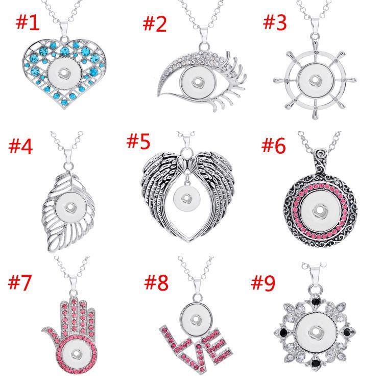 Ginger 9 Styles NOOSA Collier pendenti con bottone a pressione in metallo con cristallo DIY Jewerly intercambiabile confezione da 100 pezzi E736E