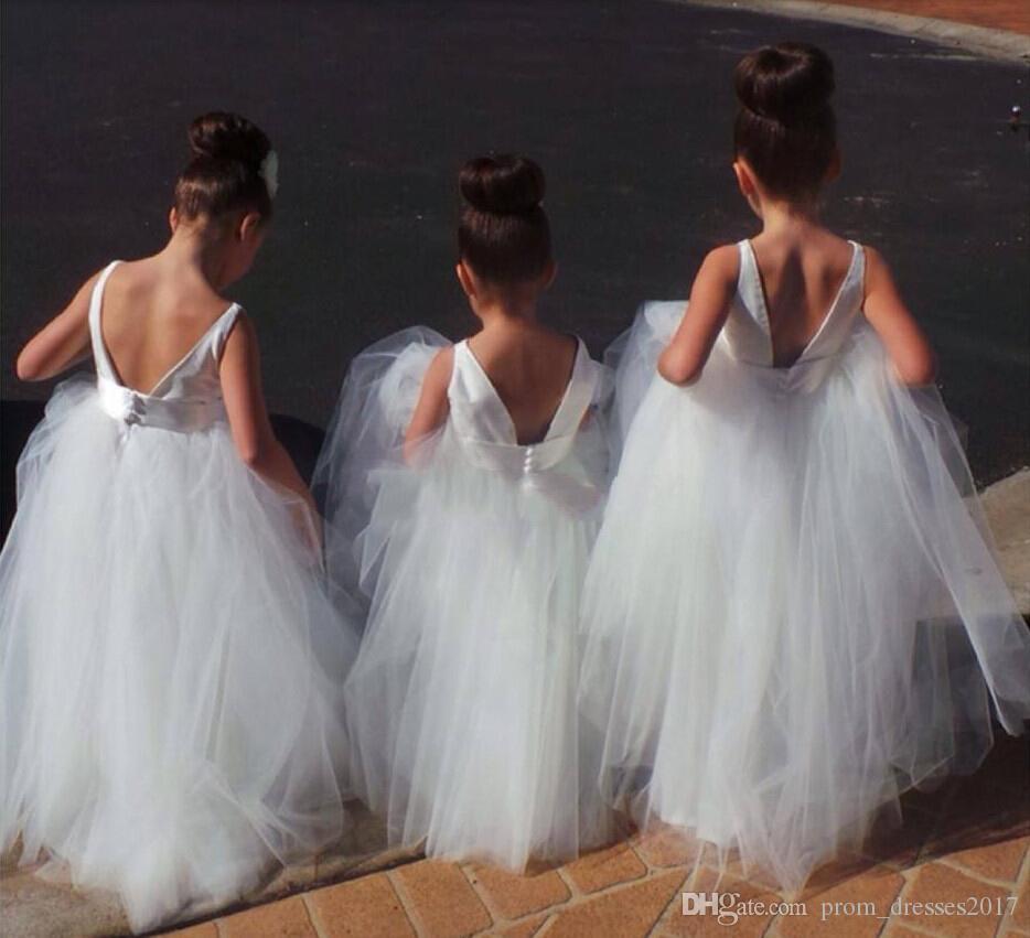 Bonita tul Blanco Abierto Precio Barato Precio Flower Vestidos Venta Caliente Vestido De Daminha Longitud Del Piso Vestido De Boda HY1195