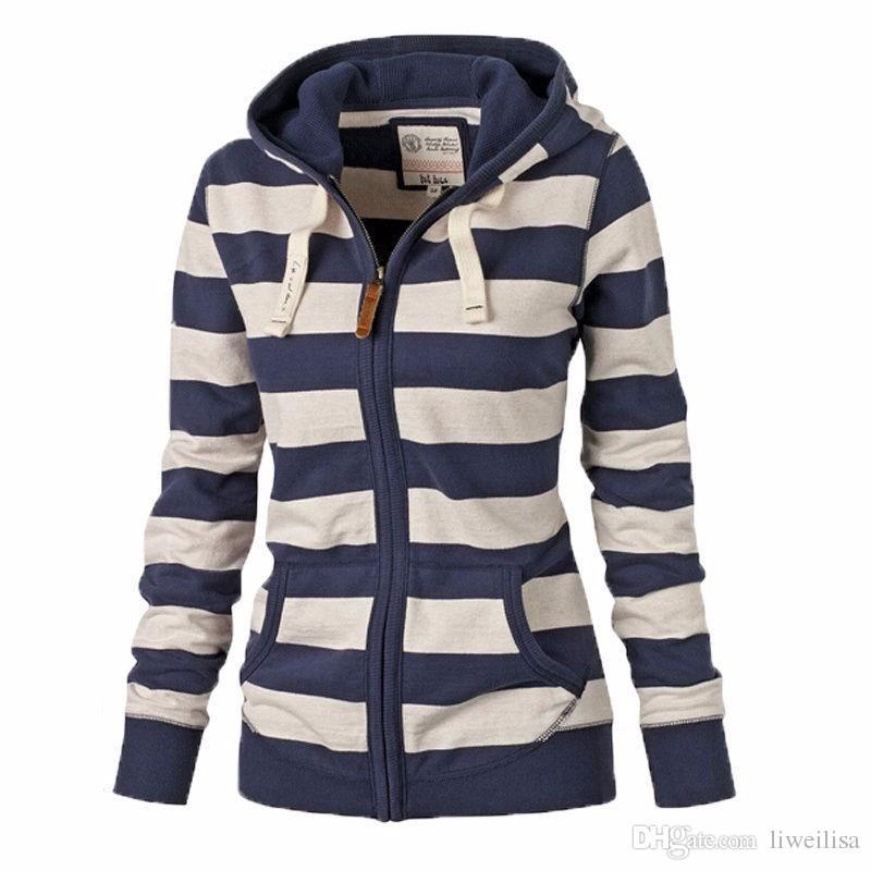 2017 Winter Women Jacket Coat Girl Long Sleeve Zipper Outerwear Warm Striped Hoodies Sweatshirt Female Hooded Zip-up Tops