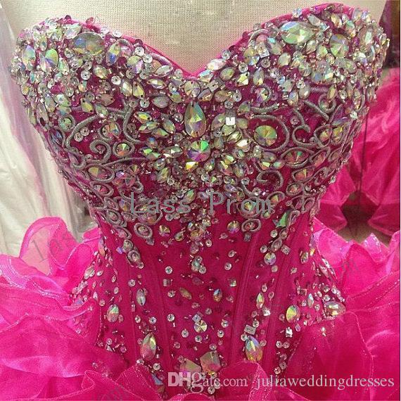 2020 Novo Elegante Quinceanera Quinceanera Vestidos De Ball com Lace-up Frisado Cristal Chão Comprimento Prom Festa Doce 16 Debutante Vestidos