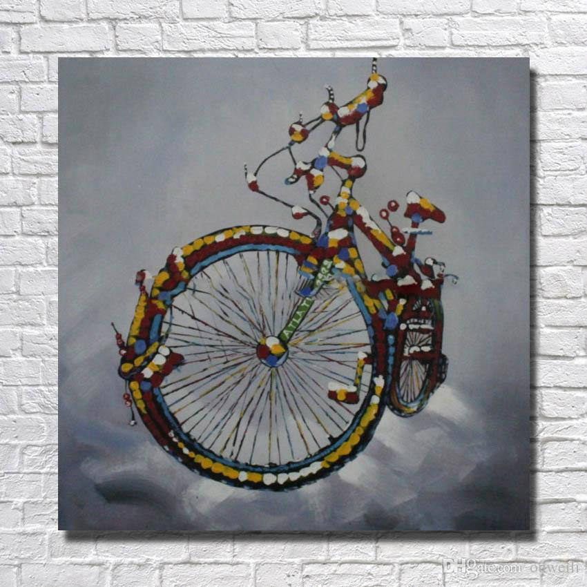 Decorative design still life things picture hand painted bicycle oil painting cartoon pictures for living room wall decor