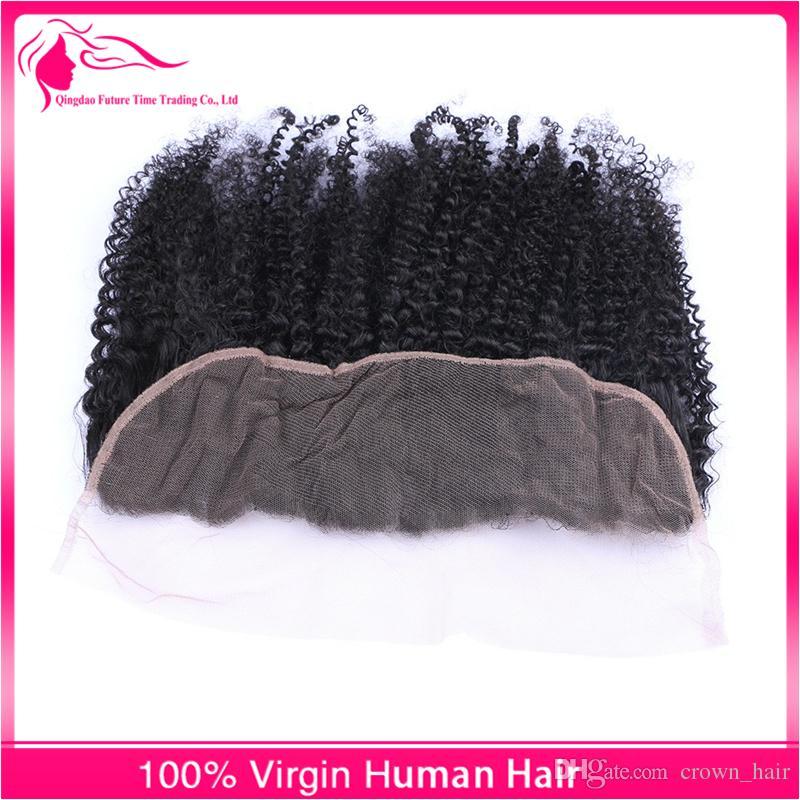 Vente chaude 13x4 Oreille À L'oreille Full Lace Frontals Avec Bébé Cheveux Afro Kinky Bouclés Vierge Cheveux Humains Dentelle Frontale Fermeture Livraison Gratuite