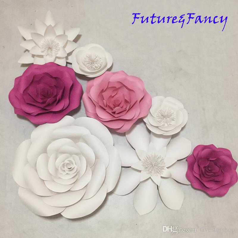 2019 Set Mix Flower Styles Giant Paper Flowers For Showcase Wedding