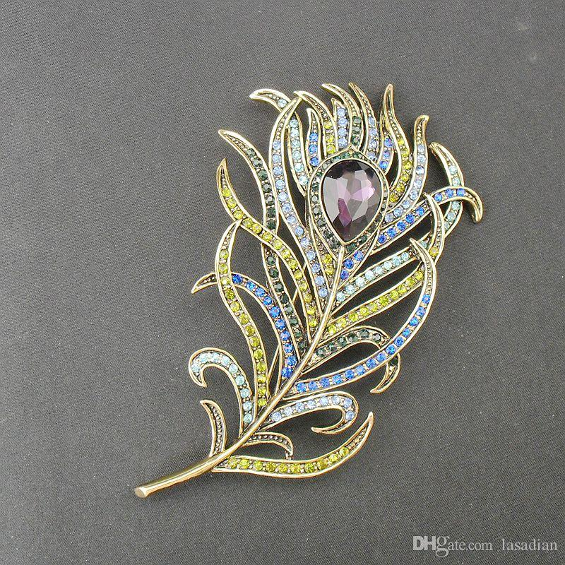 New Arrival Large Women Vintage Feather Bronze Brooch Pin Antique Gold Crystal Rhinestone Metal Jewelry Accessory