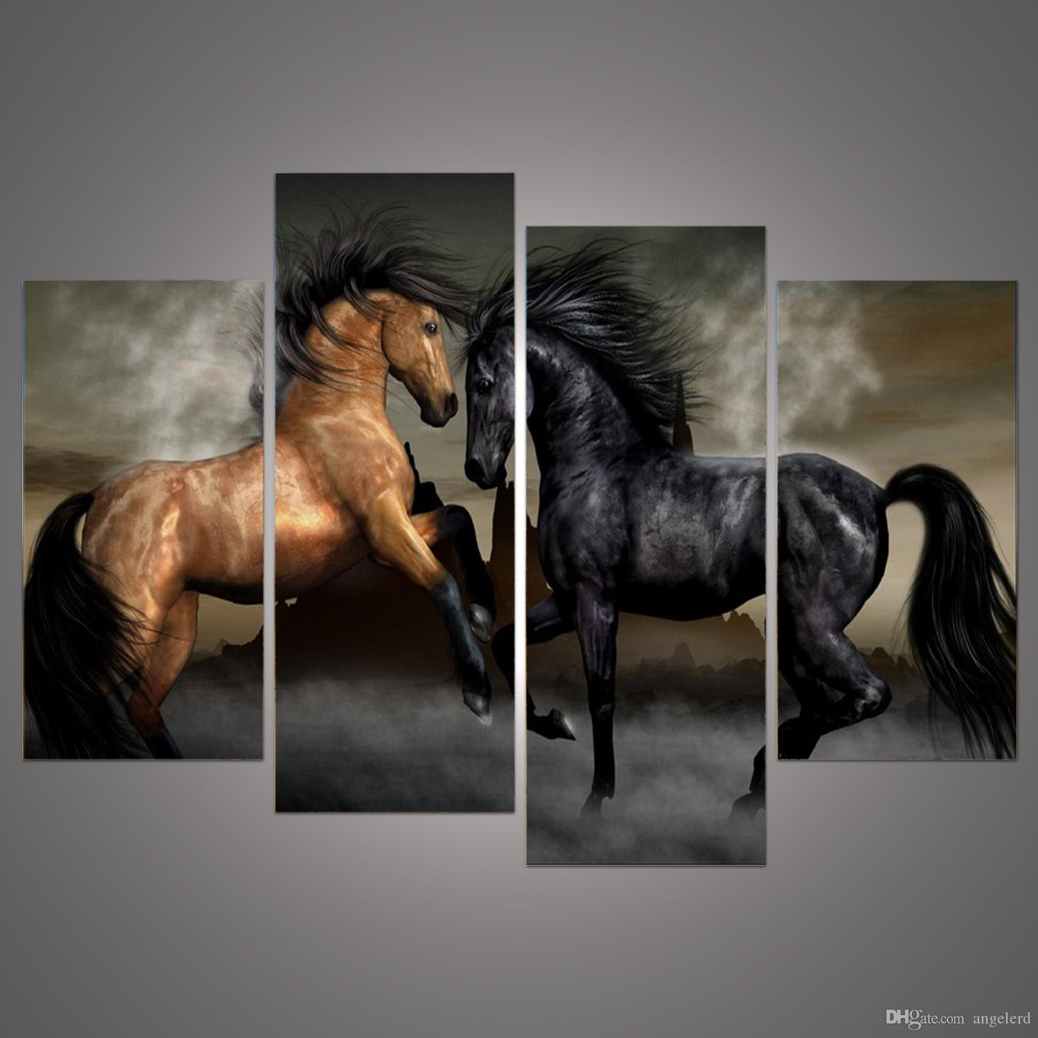 2017 4 Pances Modern Animal Oil Painting Canvas Wall Art Painted Horse Walking Elegant Living Room Bedroom Home Decor H 217 From Angelerd 908