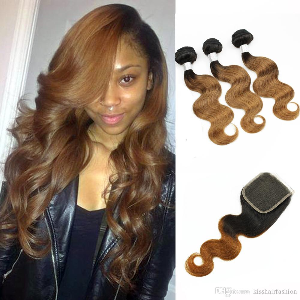 Colored Peruvian Virgin Hair 3 Bundles With Lace Closure Free Middle