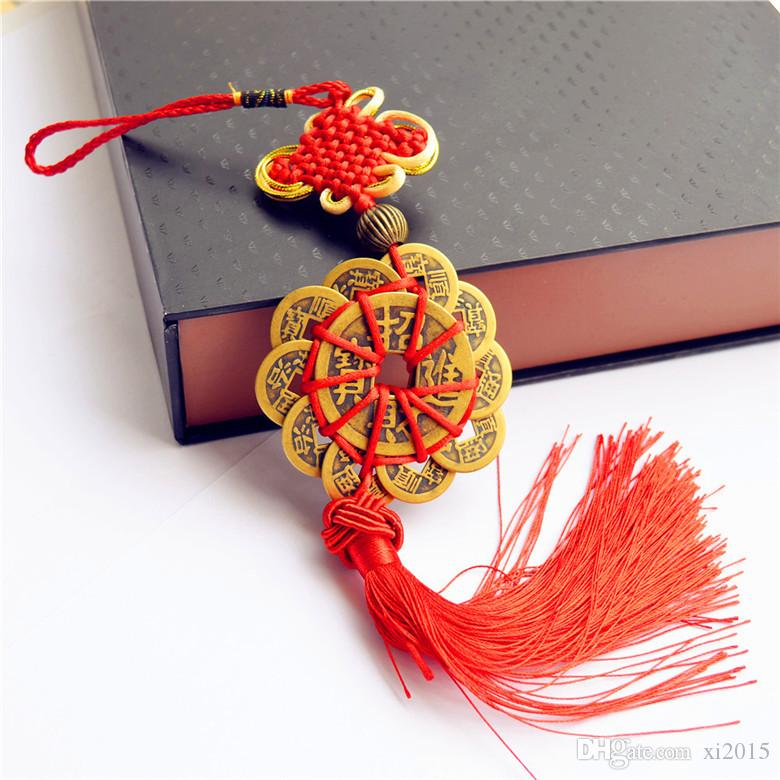 by DHL or EMS 100 pcs Red Chinese knot FENG SHUI Set Of 10 Lucky Charm Ancient I CHING Coins Prosperity Protection Good Fortune