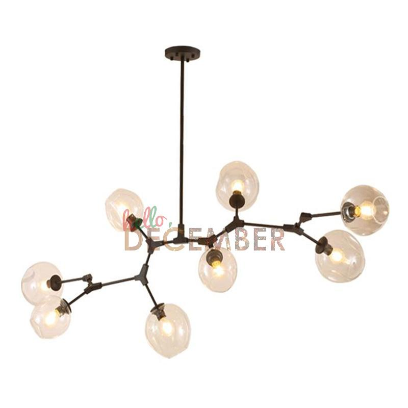 Modern Metal Led Pendant Lights 5 6 7 8 9 10 11 Head Crystal Glass Ceiling Light Chandelier Lamps Rectangular Double