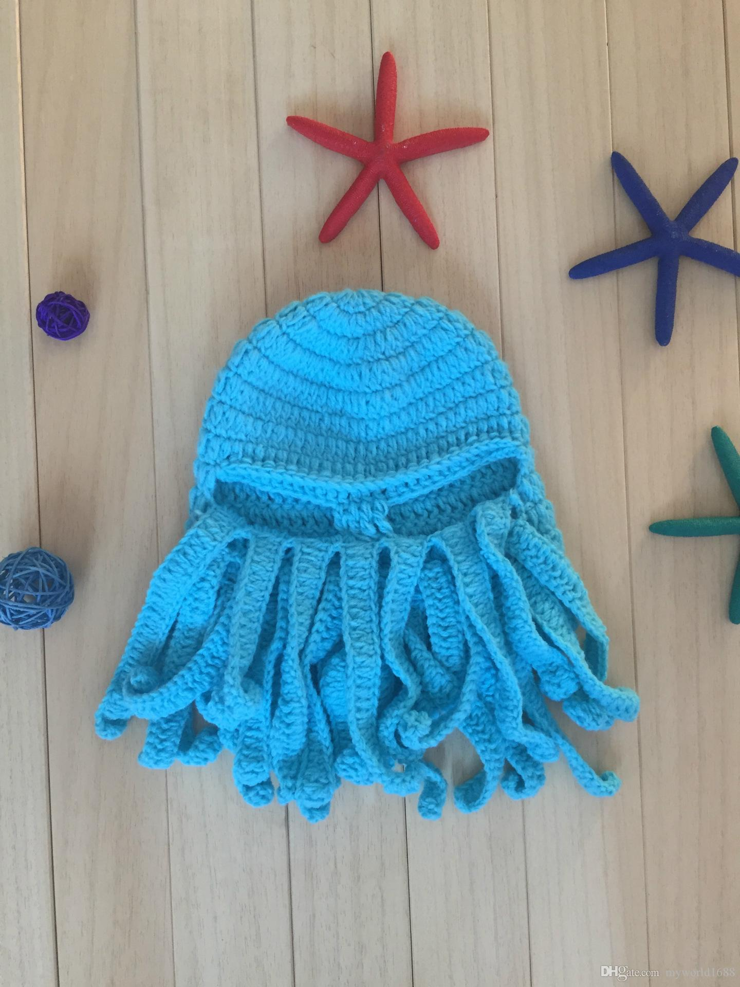 Unisex Octopus Beanie Squid Cap Tentacle Knitted Wool Ski Face Mask Knit Hat Sea Monster Crochet Beanie Cthulhu Octopus Caps Halloween