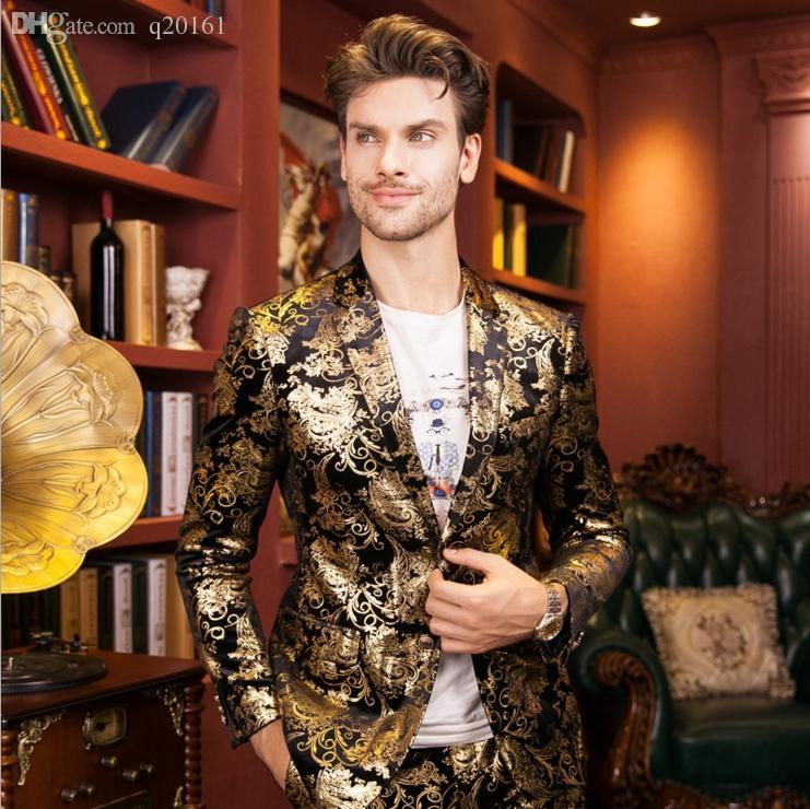 Vestito dorato della stampa del progettista senior 2016 vestito dorato di marca del cappotto di modo di alta qualità Coltivi la giacca di inverno di autunno degli uomini di moralità di uno