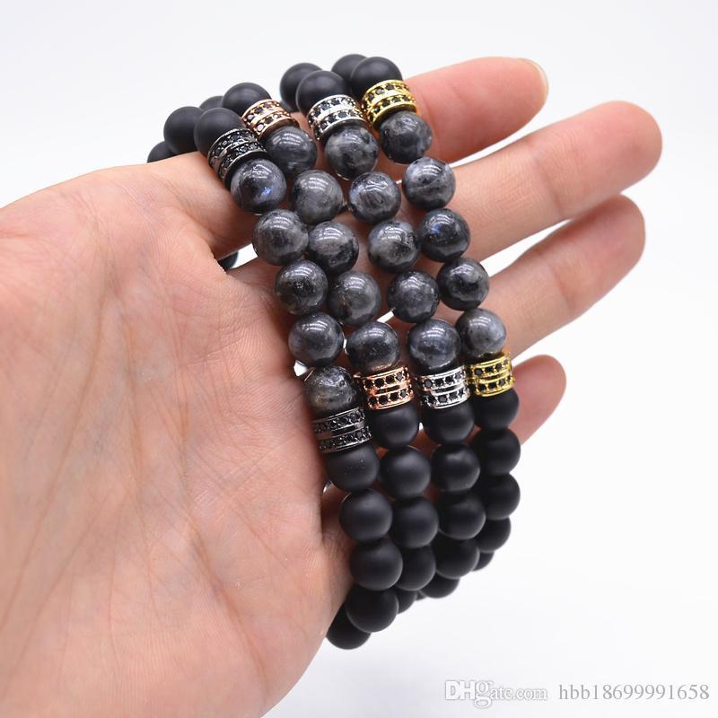 Nouveau Bracelet à bracelets indiens labradorite naturelle Stone and Copper Pave CZ Rond 8mm Double Luck Stone Bracelet noir