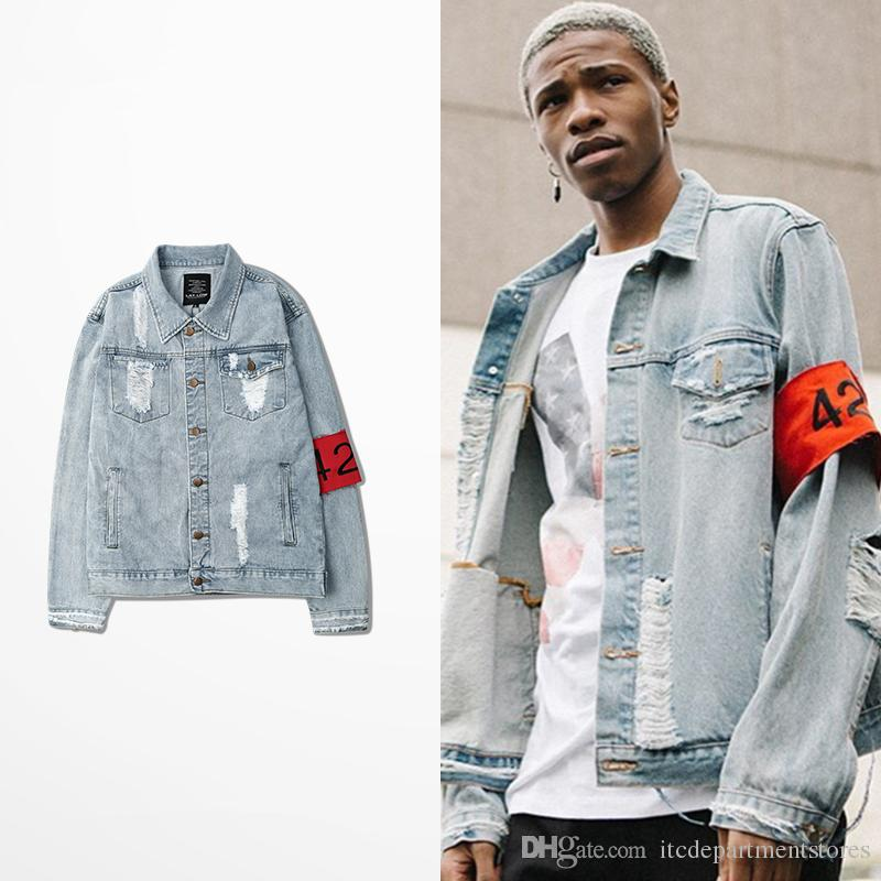 072abf96393 Brand Clothing Four Two Four 424 Fashion Denim Jacket Men Water Washed  Ripped Distressed Frayed Jean Coats High Street Jackets Buy Mens Coat Denim  Jacket ...