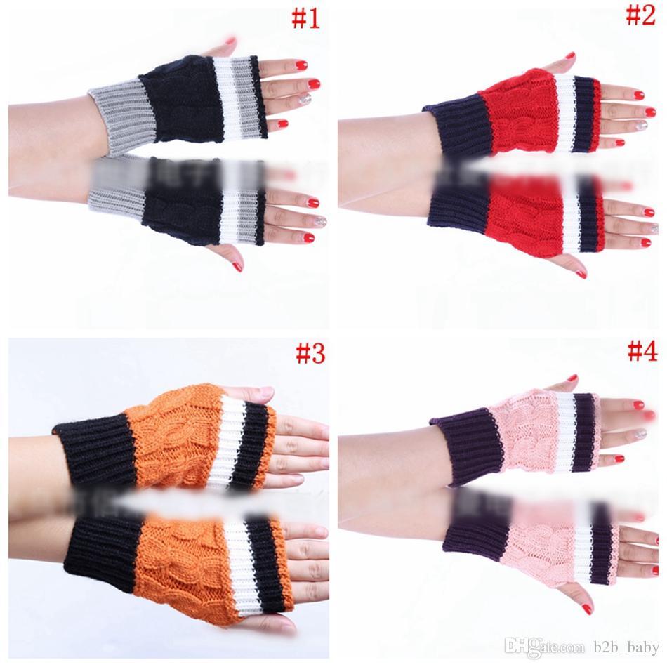 Fingerless Twist Pattern Gloves Women Knitted Twist Wave Striped ...