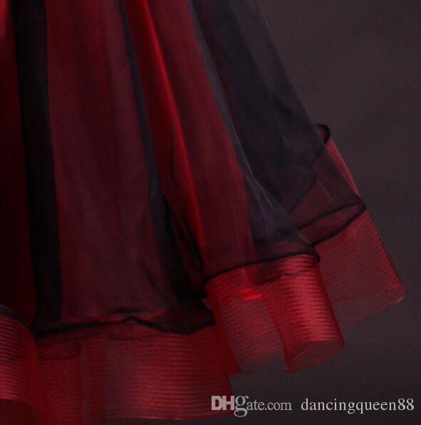 2019 Yüksek Kalite Custom Made Kırmızı Rhinestone Balo Salonu Dans Elbise Bayan Elbise Balo Salonu Standart Dans Kadın Viyana Vals Elbise