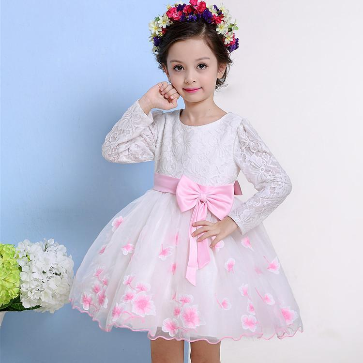 9107809a7a A-line Short   Min Long Sleeves Pink Flower Girl Dresses for Wedding with  Embroidery Bow on Sale BLB A038 Flower Girl Dresses with Sleeves Pink Flower  Girl ...