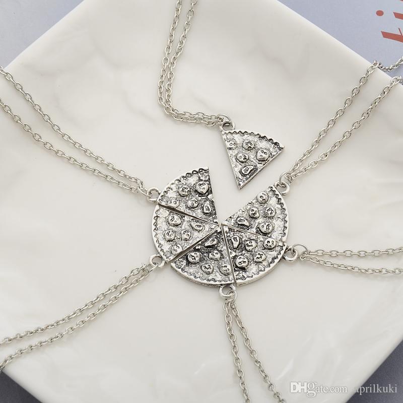 6 unids / lote pizza colgante collar de la amistad mejores amigos para siempre recuerdo creativo Memorial Day colgantes de navidad collar de regalo para el amigo