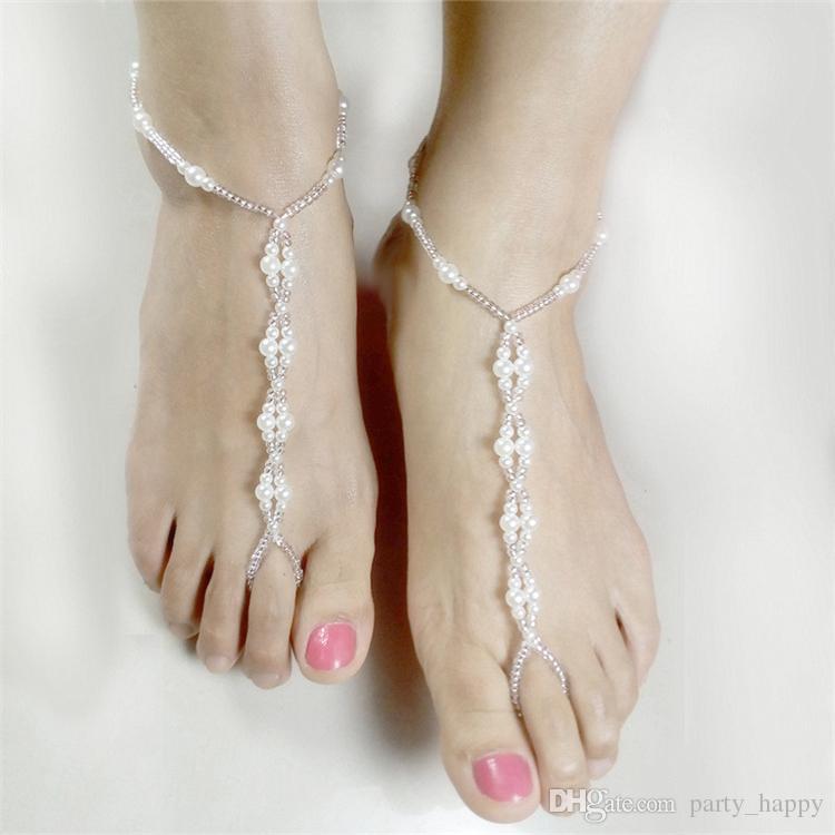 Handmade Beaded Pearl Summertime Jokerelastic Forceanklet Pearl Barefoot Sandal Anklet Bracelet Foot Chain Bridal Jewelry Wedding Anklets