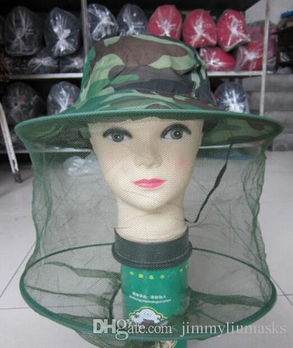 Camuflagem Apicultor Apicultor Anti-mosquito Bee Bug Insect Voar Máscara Cap Chapéu com Cabeça Net Malha Rosto Proteção Equipamento De Pesca Ao Ar Livre