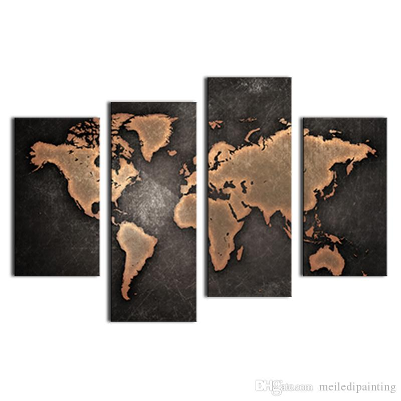 General World Map.2019 General World Map Black Background Wall Art Painting Pictures