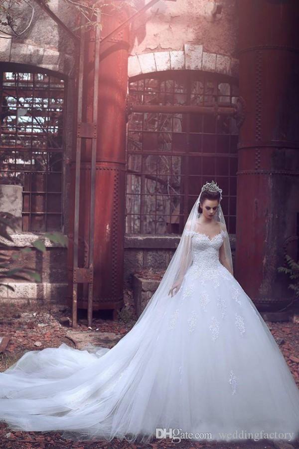 어깨에서 벗어난 아랍어 대성당 기차 웨딩 드레스 라인 레이스 아플리케 신부 드레스 공주 신부 정장 맞춤 제작
