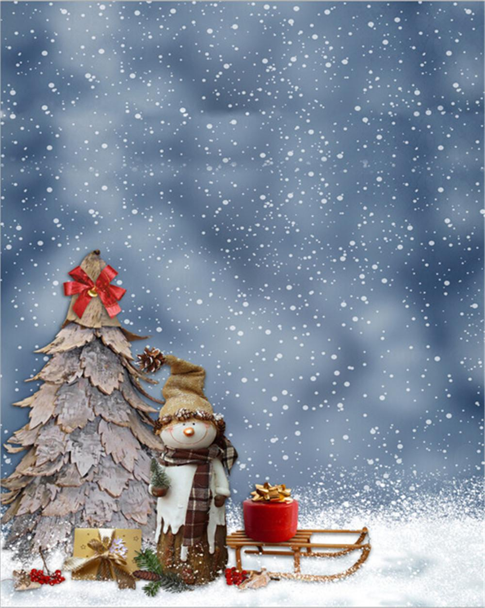 2018 Gray Sky Falling Snowflakes Backdrop For Photography Snowman ...
