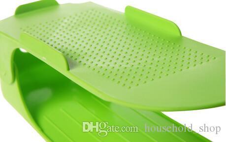Rack de chaussure créatif Rack de stockage réglable Double-plate-forme Haute ténacité En plastique 8 couleurs Organisateur Économie d'espace Stockage Réglable Durable