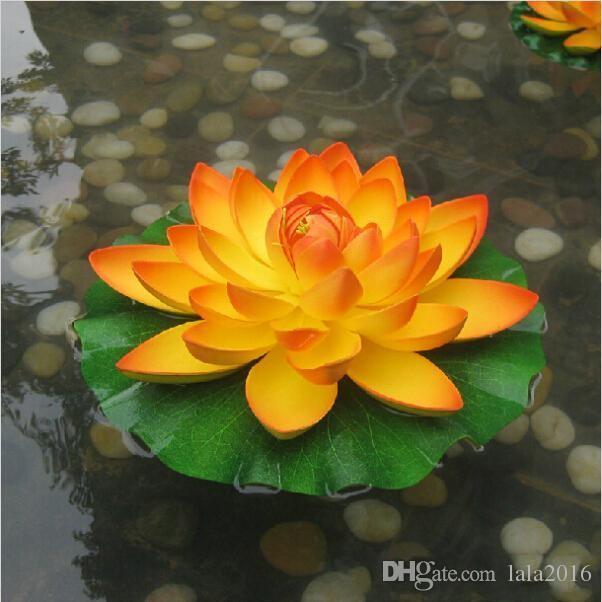 Compre 29cm De Diámetro Artificial Flor De Loto Flotando En La