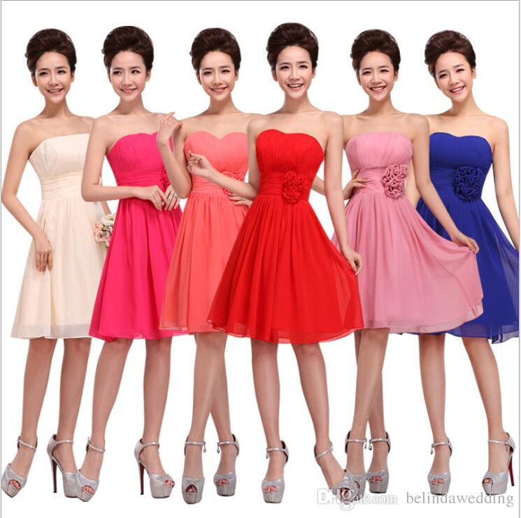 Compre Vestidos De Dama De Honor Cortos Rojos De La Manera ...