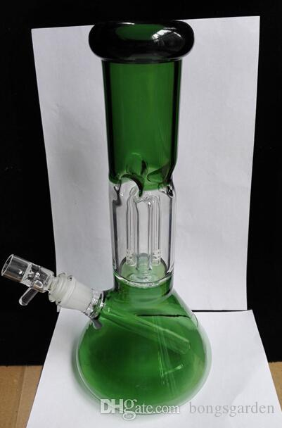 Green Hanging 4 arms Perc glass bongs Removable difussed Domestem Perc Beaker Base Glass water pipes with bowl hookahs