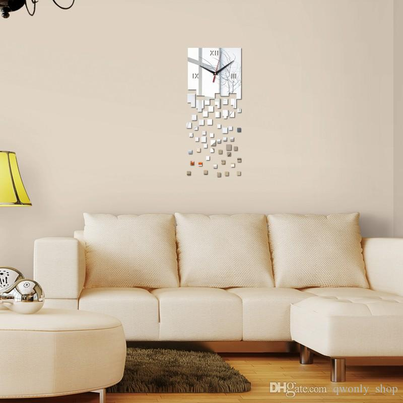 2016 New Decorative Black Wall Clock DIY Contemporary Style Square Large Size Silver Gold Mirror Wall Sticker