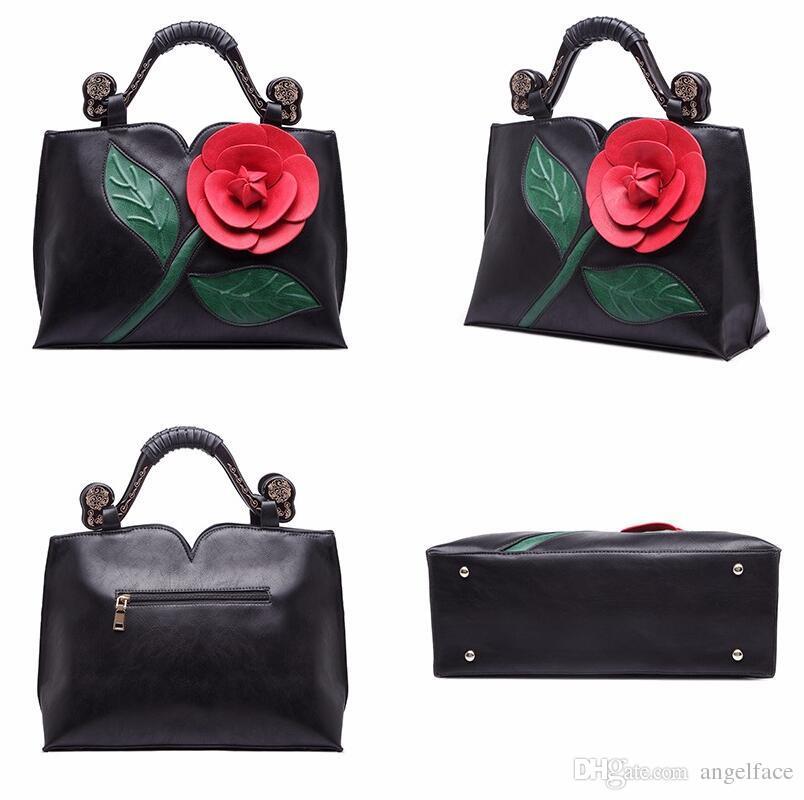 Women 3D Rose Flower Handbags Famous Brands Women Messenger Bags Women S  Pouch Bolsas Purse Fashion Leather Handbag Ladies Black Leather Handbags  Cute Bags ...
