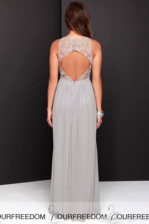 Vestidos largos de dama de honor de gasa 2019 Vestidos de dama de honor de talla grande baratos por encargo Vestidos transparentes de dama de honor azul gris