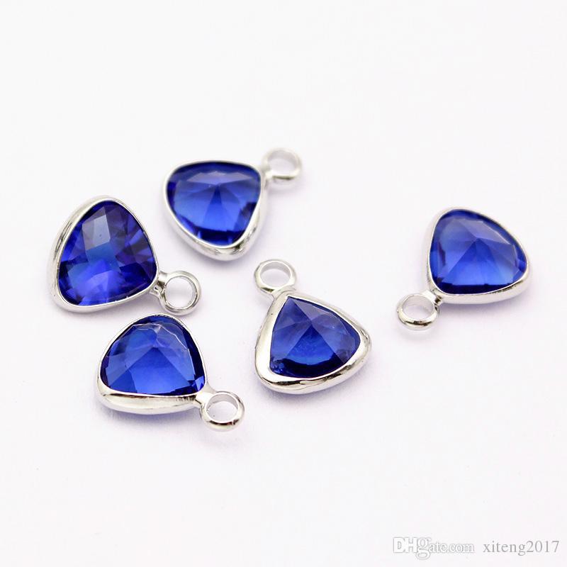 Новая мода симпатичные Кристалл Шарм 12 цветов трехгранные камень подвески для bacelets ожерелье DIY ювелирные изделия делая поставкы оптовика