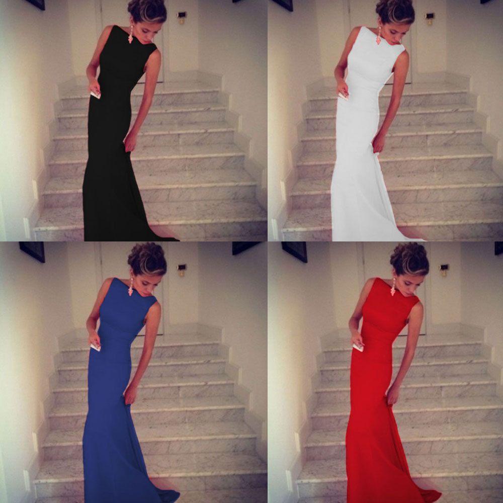 Europa und Amerika-reizvolle Partei-Overall Kleid-Verband langes Kleid sexy Mode-Stitching-Rundhalsausschnitt ärmelloses Kleid Rock Fishtail Rock 1038