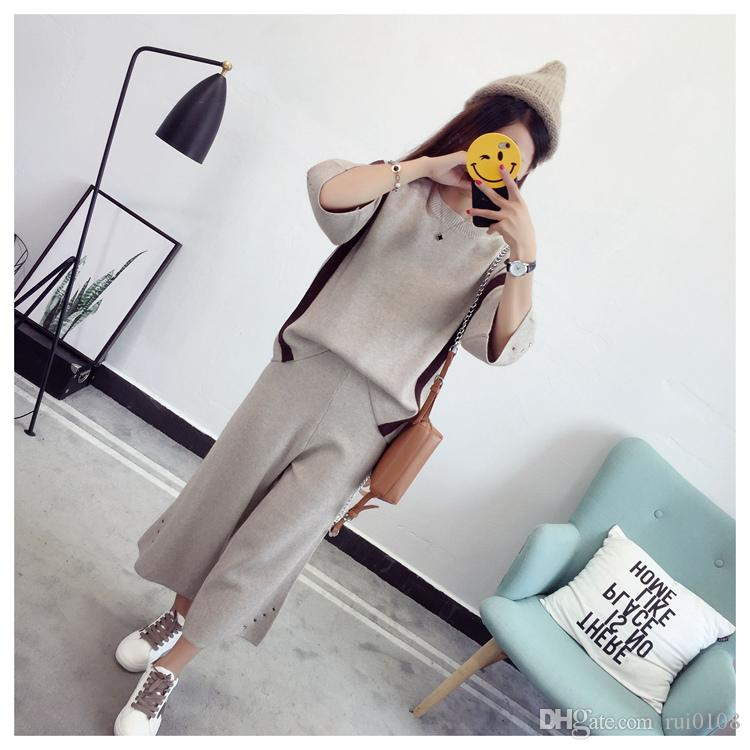 Two piece female knitted sweater wide leg pants suit fashion dress autumn 2017 new sweater two piece set loose knit wool knitted dress coat