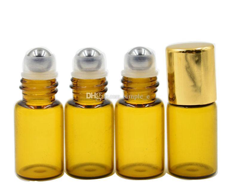 Precio de fábrica POR DHL./Fedex envío gratis 3 ml Brown Ámbar Glass Roll en botella de perfume de aceite de acero inoxidable bola del rodillo al por mayor