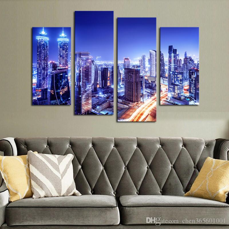 Luxry Unframed City Lights Modern Wall Art HD Picture Canvas Print Painting For Living Room Decor