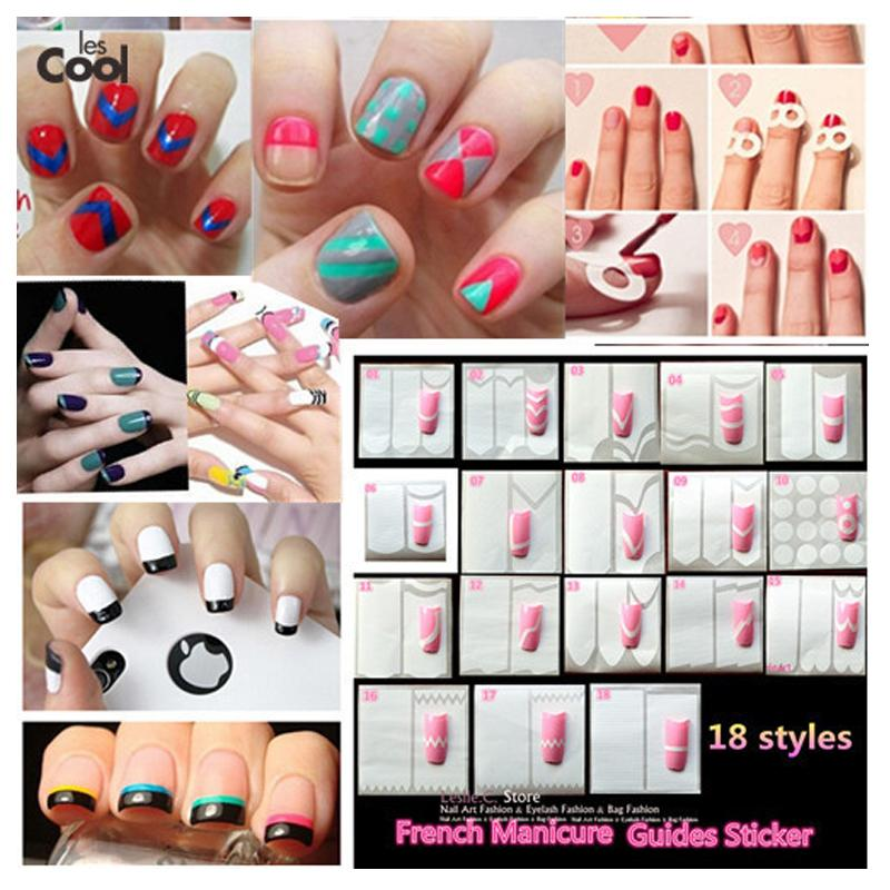 Wholesale 1 X Tips Guides Nail Sticker French Manicure Nail Art Form ...